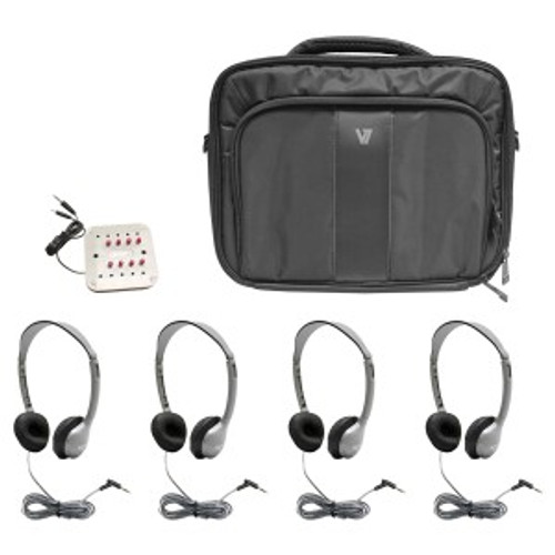 HamiltonBuhl MP3 Listening Center - 4 Personal Headphones, Jackbox with Volume, Carry Case