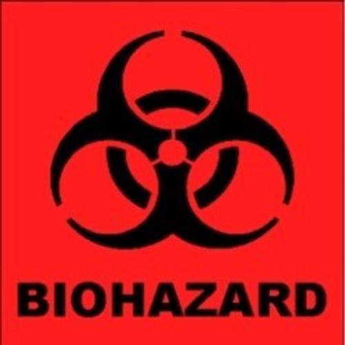Biohazard Sticker 2in x 2in - Bright Orange - 1 Sticker