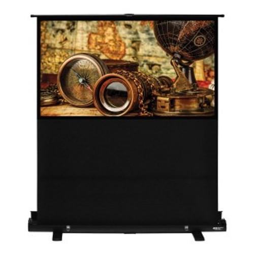 "HamiltonBuhl 80"" Diag. (39x68) Portable Floor Rising Screen, HDTV Format, Matte White Fabric"