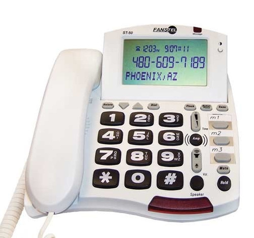 Fanstel Model ST50 - Amplified Corded Telephone with Loud Speakerphone - White