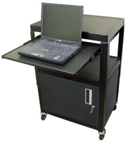 "HamiltonBuhl Steel Cart, Adjustable 26"" to 42"" with Locking Security Cabinet, Lap Top Shelf and Electric"