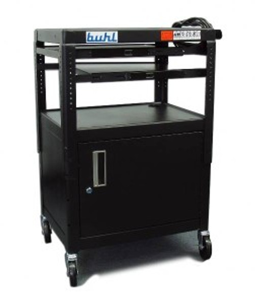 HamiltonBuhl Height adjustable AV Media cart w/ Security Cabinet - Two Pull-Out Shelves