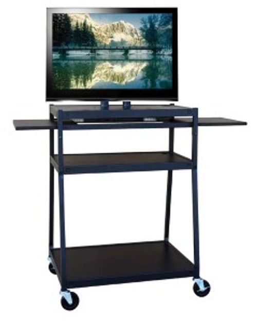 HamiltonBuhl Wide Body Flat Panel TV Cart with Two Side Pull-Out Shelves