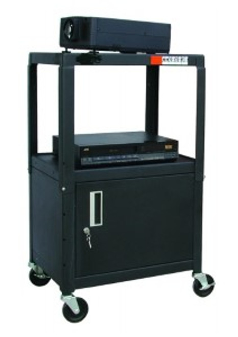 "HamiltonBuhl Steel Cart, Adjustable 26"" to 42"" with Locking Security Cabinet and Electric"