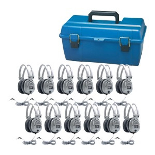 HamiltonBuhl Lab Pack, 12 SC7V Deluxe Headphones in a Carry Case