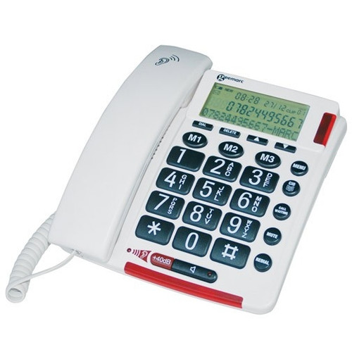 Amplified Corded Telephone with Talking Caller ID for Mild to Moderate Hearing Loss - Geemarc Model AMPLIVOICE50