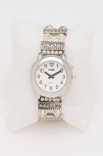 1 Button Silver Beaded Band Talking Watch