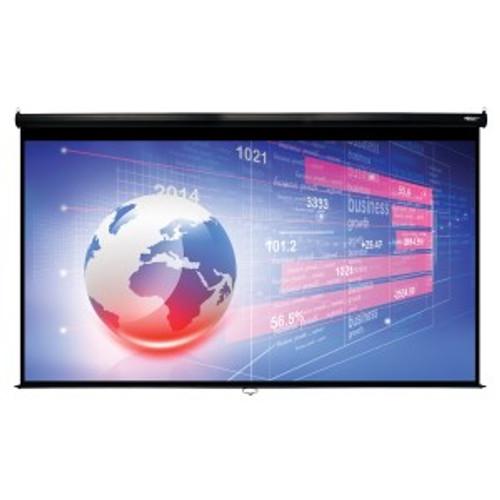 "HamiltonBuhl 150"" Diag. (74x131) Manual Pull Down Projector Screen, HDTV Format, Matte White Fabric - Black"