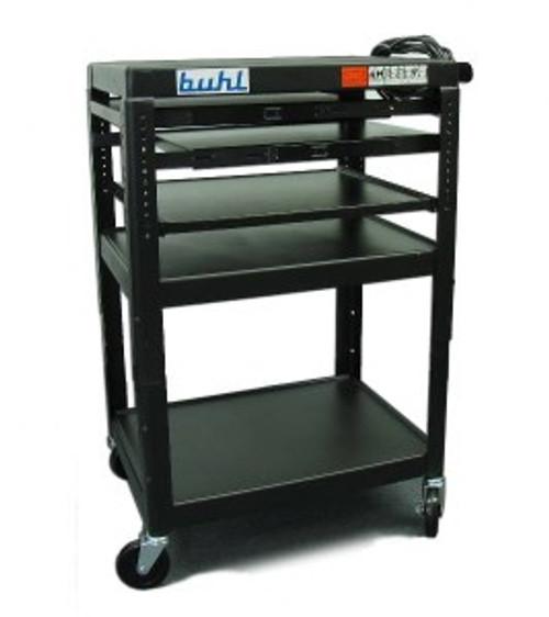 HamiltonBuhl Height adjustable AV Media Cart - Three stationary Shelves, Two Pull-Out, Additional Laptop Shelf
