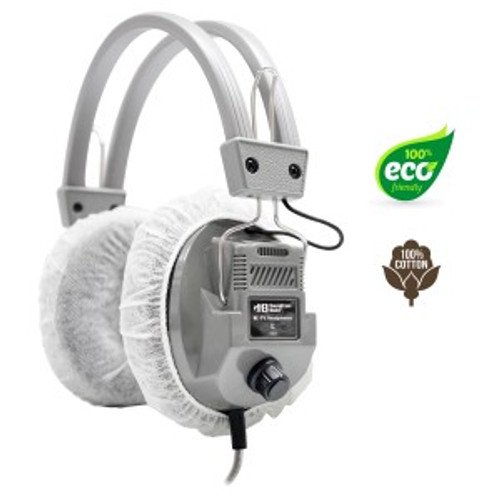 """HygenX 100% Cotton Sanitary Ear Cushion Covers (4.5"""" White, 50 Pairs) - For Over-Ear Headphones & Headsets"""