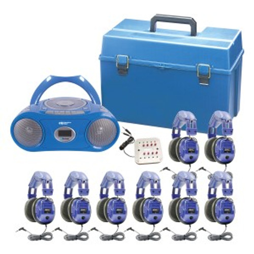 HamiltonBuhl Kids 8 Person Listening Center With Bluetooth, CD/Cassette/FM Boombox and Deluxe Over-Ear Blue Kids Headphones