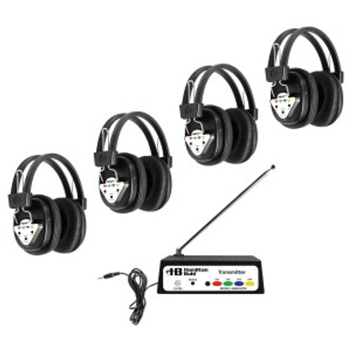 HamiltonBuhl Wireless Listening Center, 4 Station with Headphones and Bluetooth Transmitter, Multi Frequency