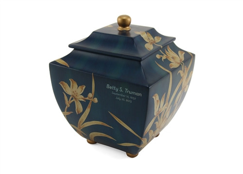 Hand Crafted and Painted Flower Memorial Urn - Resin