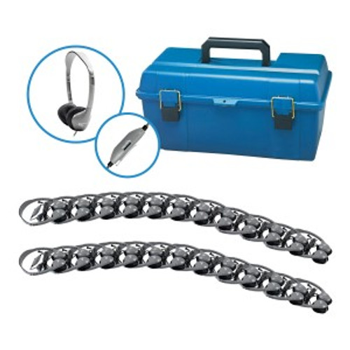HamiltonBuhl Lab Pack, 24 MS2LV Personal Headphones in a Carry Case