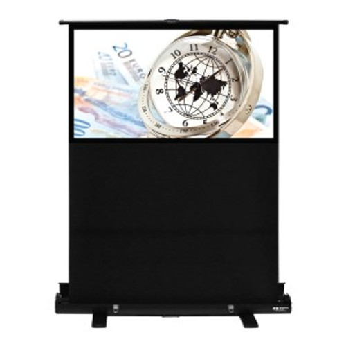 "HamiltonBuhl 60"" Diag. (30x53) Portable Floor Rising Screen, HDTV Format, Matte White Fabric"