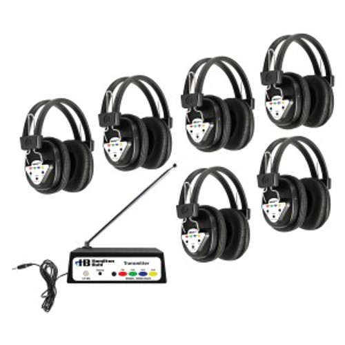 HamiltonBuhl Wireless Listening Center, 6 Station with Headphones and Transmitter, Multi Frequency