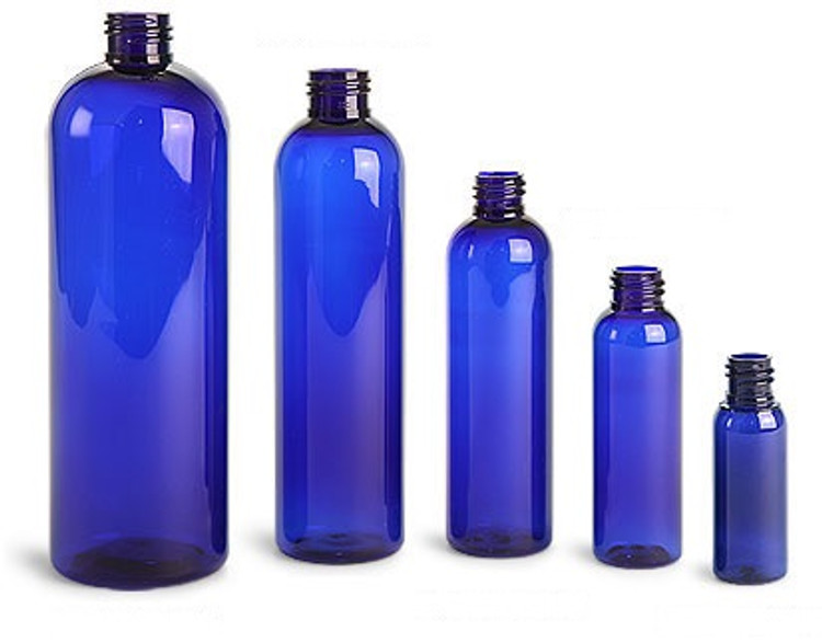 Clearance Blue PET Plastic Bottles. Cosmo Round. Caps NOT Included