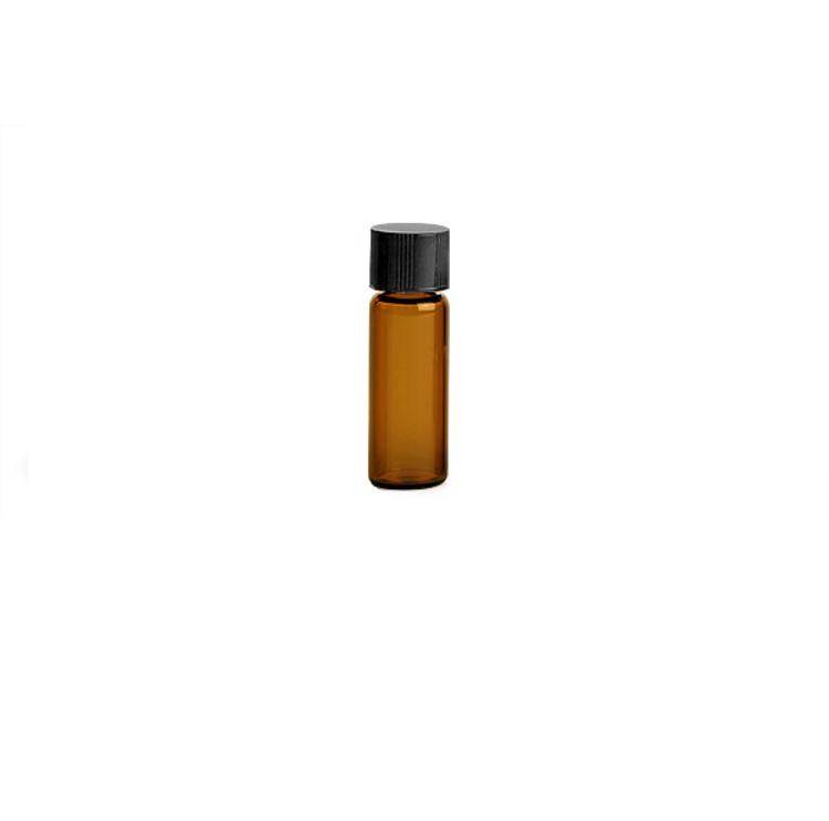 1/2 Dram Amber Glass with Black Screw Cap