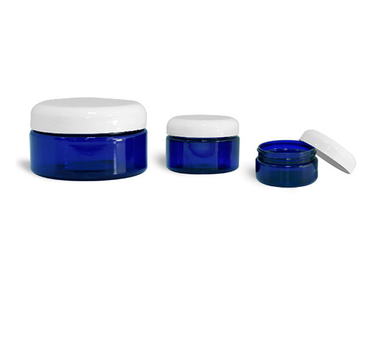 Blue PET Jar with White Lid
