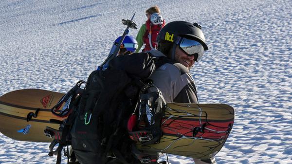 Axiom Snow Goggle w/ Silver Revo Lens in use on Mount Raineer