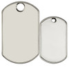 Blank monster dog tag comparison to standard sized dog tag.