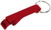 Red custom keychain wrench style bottle opener.
