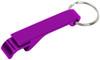Purple custom keychain wrench bottle opener.