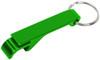 Green custom keychain wrench style bottle opener.