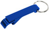Blue custom keychain wrench style bottle opener.