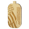 No color custom wooden dog tag with american flag carving and text.
