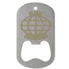 Laser engraved dog tag bottle opener in middle slot type with globe imprint.