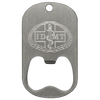 Diamond engraved dog tag bottle opener middle slot style on a stainless steel dog tag.