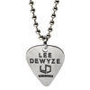 Nickel plated custom guitar with an etched logo filled with black coloring on a ball chain necklace. These guitar picks were done for Lee Deyze for his concert tours in partnership with Warner Bros.