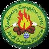 Custom camp patch, burning fire and 5 custom colors. Custom applique.