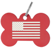 Bone shaped tag with custom american flag laser engraved on surface. Red tag.