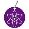 Custom laser engraved circle tag purple with atom symbol on it. Customize these anodized aluminum tags however you want.