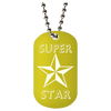 Yellow super star laser engraved dog tag with ball chain necklace.