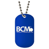 1.5mm thick custom laser engraved dog tag with BCM logo and a ball chain necklace.