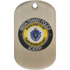 Custom 1.5 mm aluminum offset printed dog tag with transit police artwork.