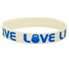 Single color screen printed white silicone wristband
