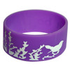 Custom purple wide style silicone bracelet with 1 color screen printed design