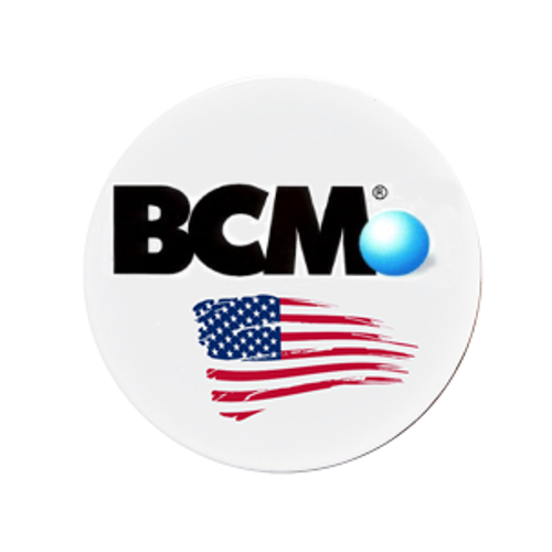 Custom color printed quick pin with BCM logo and american flag.