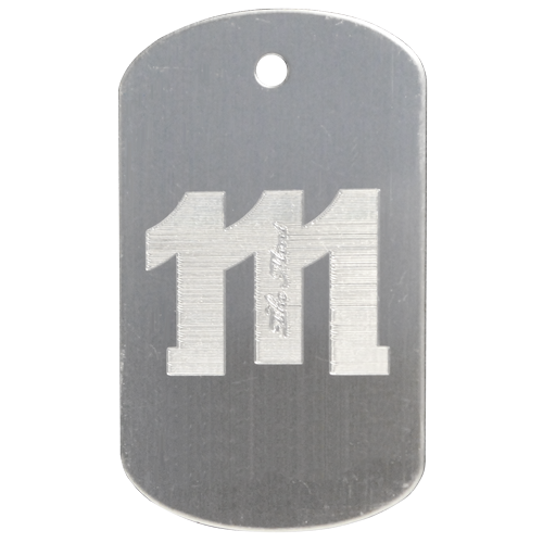 Diamond engraved stainless steel tag.