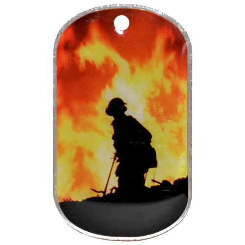 Firefighter .8mm thick stainless steel offset printed dog tag.