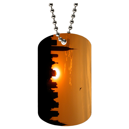 custom teslin dog tags with city scape artwork. Hanging out a ball chain.