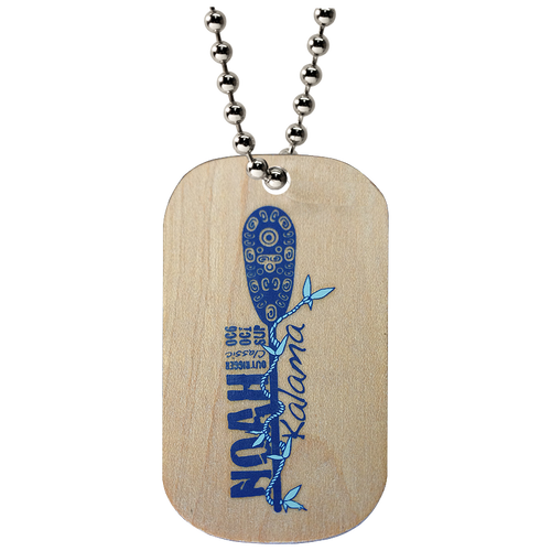 Custom wooden dog tag with blue imprint on a ball chain necklace.