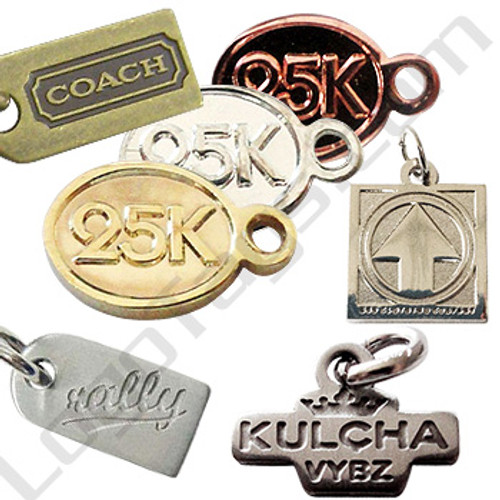 Custom metal jewelry tags.