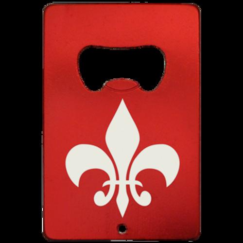 Aluminum red credit card bottle opener with the fleur de Lis laser engraved on one side