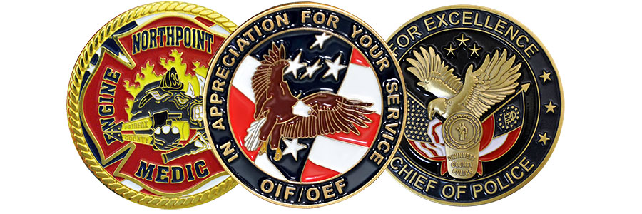 The custom challenge coin hero image with a custom North Point fire department challenge coin on the left, a police appreciation custom challenge coin in the middle, and a police chief custom challenge coin on the right