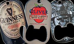 A collage of offset printed dog tag bottle openers. The left is a custom dog tag bottle opener for Guinness Exta Stoud, Middle is Oliver Apple, Right is a custom dog tag bottle opener we did for Eric Church the country singer.